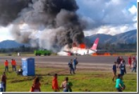 Загоревшийся при посадке в Перу пассажирский самолет попал на видео