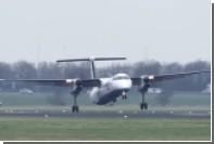 Экстремальную посадку при сильном боковом ветре в Амстердаме засняли на видео