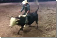 На родео в Австралии бык наступил на ковбоя