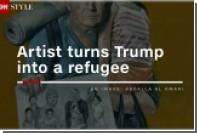 Сирийский художник изобразил Путина и Меркель в образе беженцев