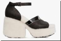 Представлены туфли с обтянутыми овчиной каблуком и подошвой