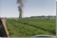 Горящие обломки испанского истребителя попали на видео