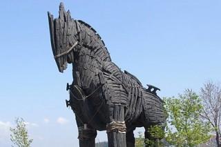Турист забрался на троянского коня со второй попытки и расшибся