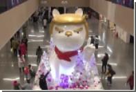 Китайцы соорудили гигантского пса с мордой Трампа