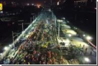 В Китае за ночь построили железнодорожную развязку