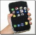Папа подарил сыну вязаный iPhone. Фото