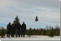 Летающую новогоднюю елку показали на видео