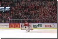 Словацкий хоккейный голкипер залез на ворота и спел вместе с болельщиками